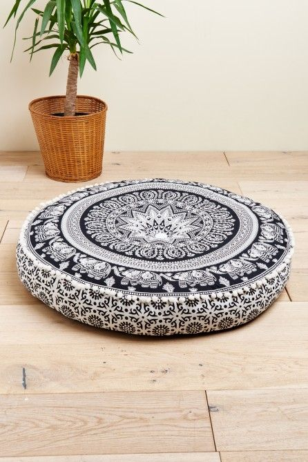 Black And White Elephant Floor Pouf