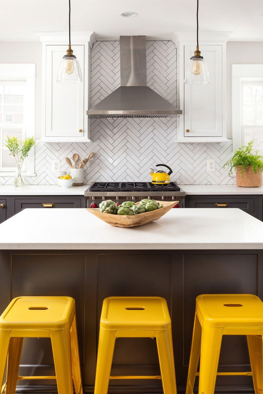 50 White Herringbone Backsplash Tile In Style White Kitchen Yellow Kitchen Accents Yellow Kitchen Tiles Kitchen Backsplash Designs Colorful kitchen backsplash tiles