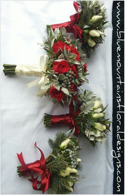Winter Wedding Bouquets   Winter inspired wedding flowers. Red & White Rose bouquets. www ...