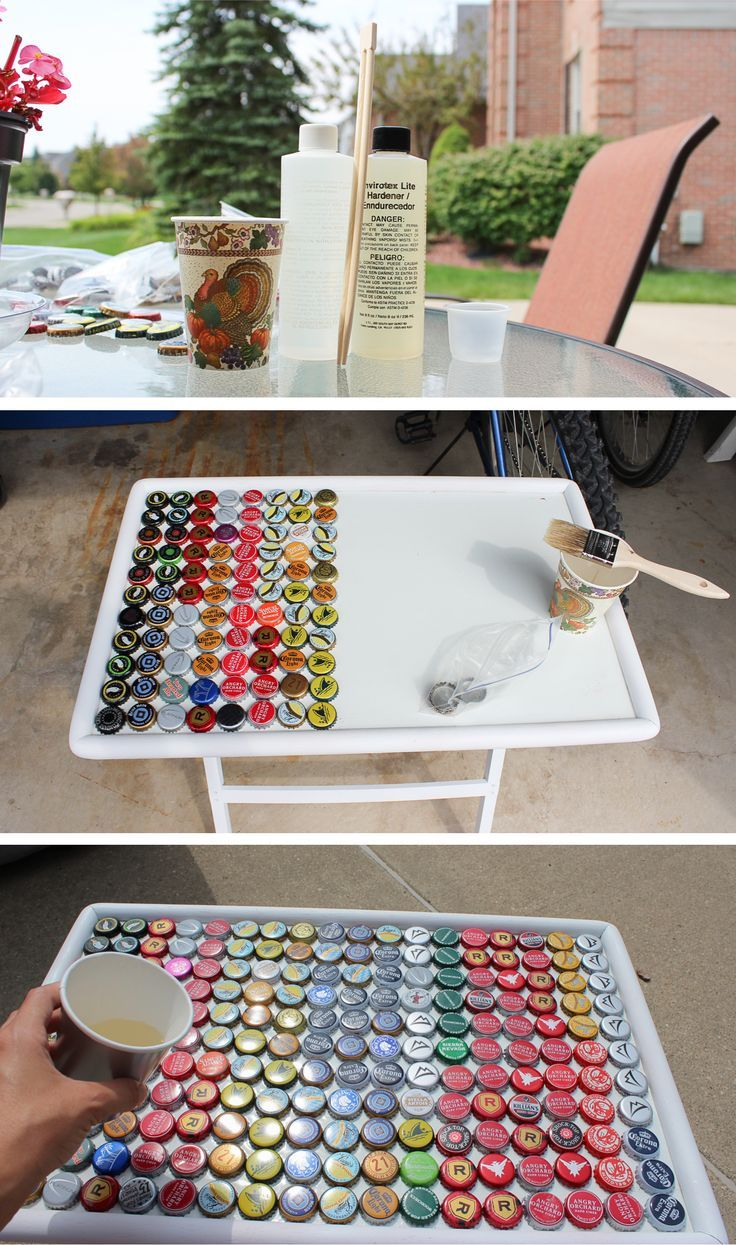 Beer bottle cap table cap bottle and craft for Crafts to do with beer bottle caps
