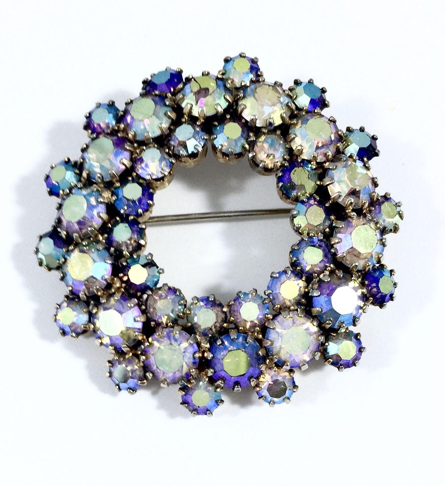 Vintage Wreath Round Brooch Pin / Aurora Borealis