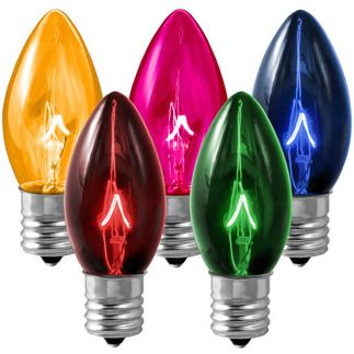 C9 Transparent Multi Color Replacement Bulb Christmas Light Bulbs Incandescent Christmas Lights Light Bulb Candle