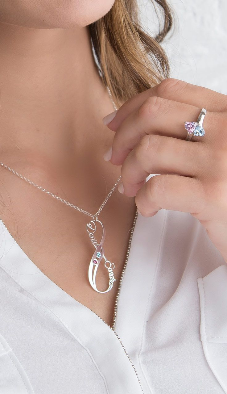 Vertical Infinity Name Necklace With Birthstones Infinity