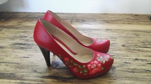 Czerwone Goralskie Malowanki Heels Shoes Pumps