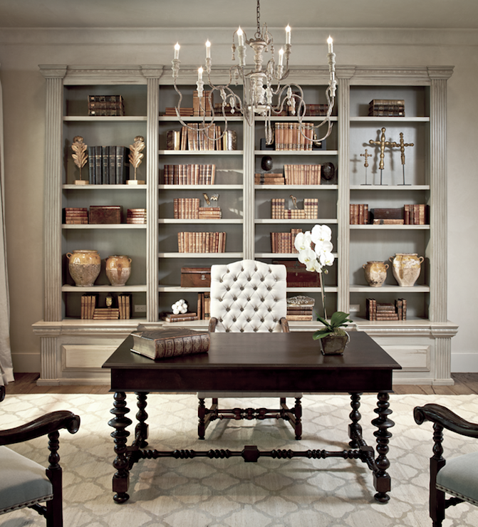 Chic, Elegant French Office With Tan Walls