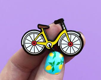 Bicycle Yellow Enamel Pin Enamel Pins Pin Yellow Enamel