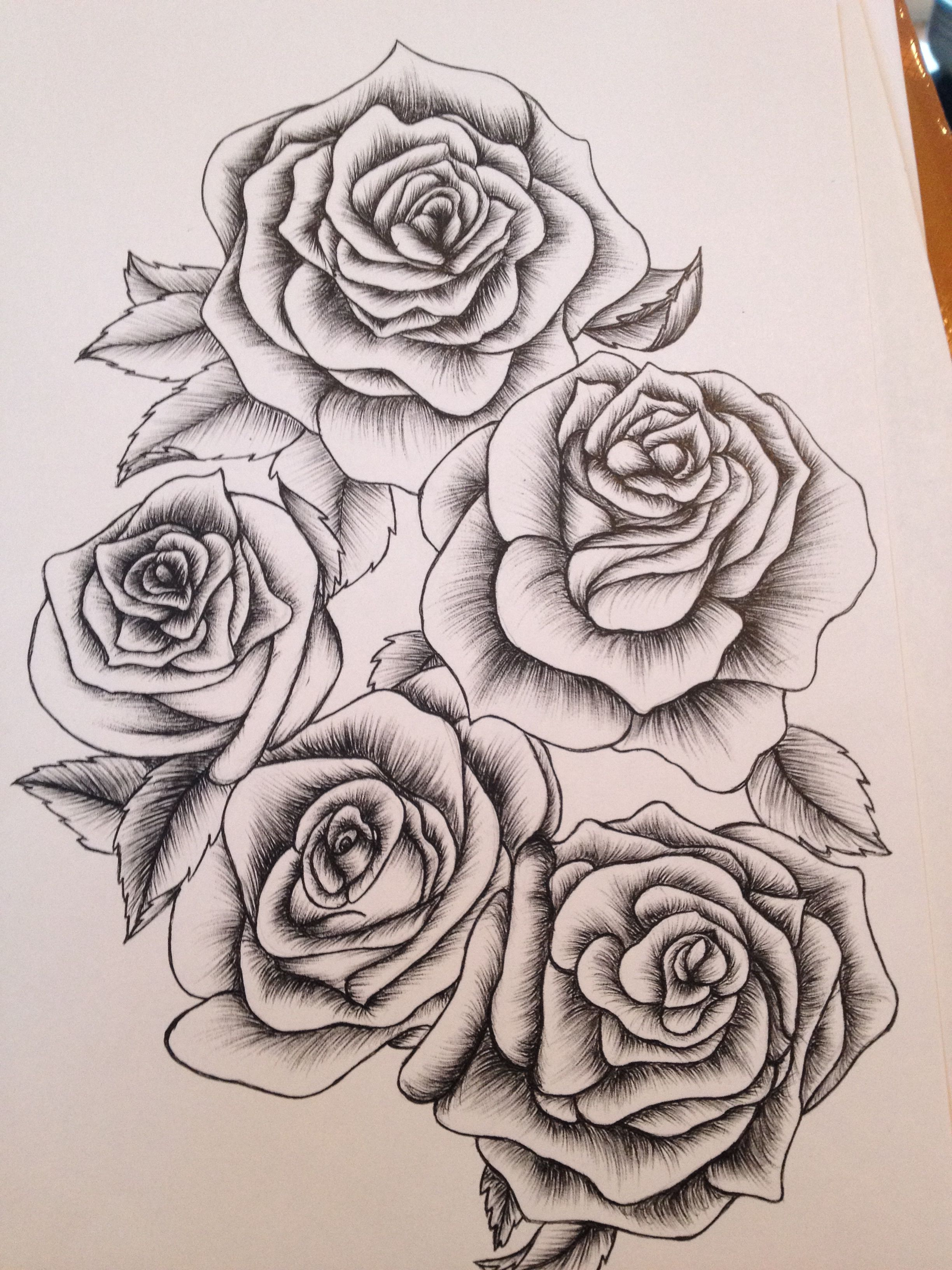 A sleeve of roses Rose outline tattoo, Rose tattoos, Tattoos