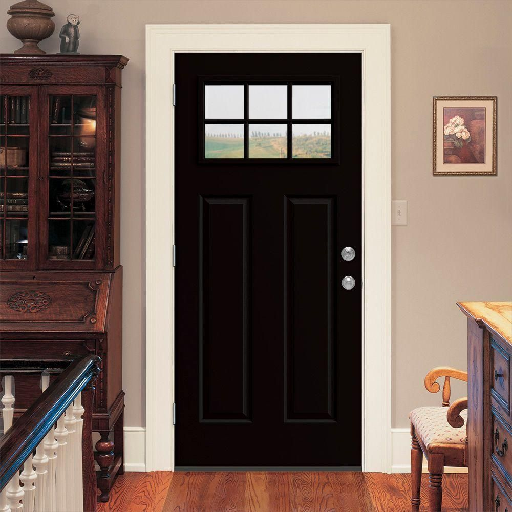 6 Lite Craftsman Black Painted Steel Prehung Right Hand Front Door  W/Brickmould