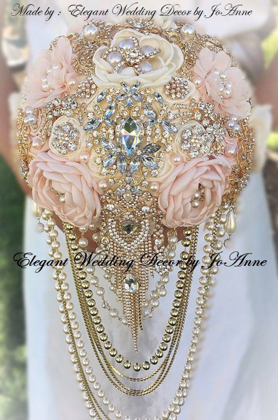 Dazzling Pink and Gold Cascading Pearl Brooch Bouquet, Jeweled WEDDING BOUQUET, Handmade Brooch Bouquet, GOLD Brooch Bouquet,Deposit