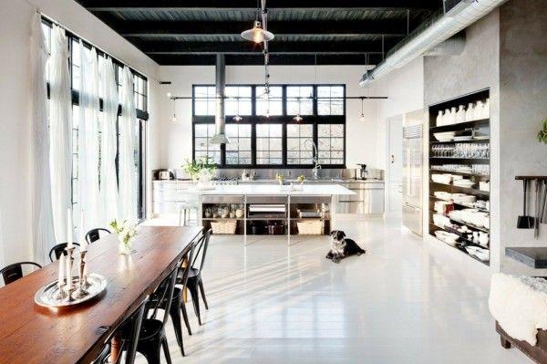 küchen ideen essbereich industrieller stil weißer bodenbelag - bodenbelag für küche