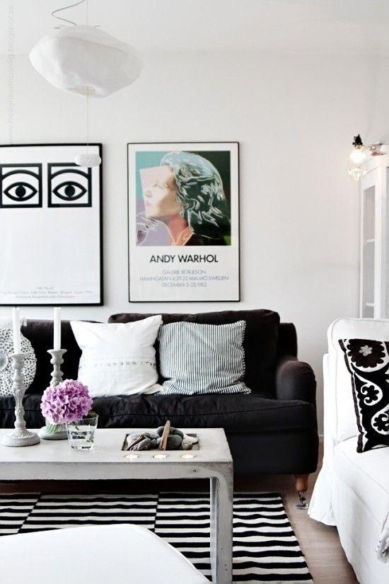 Elegant Black White With Pop Of Color Living Room Design Home