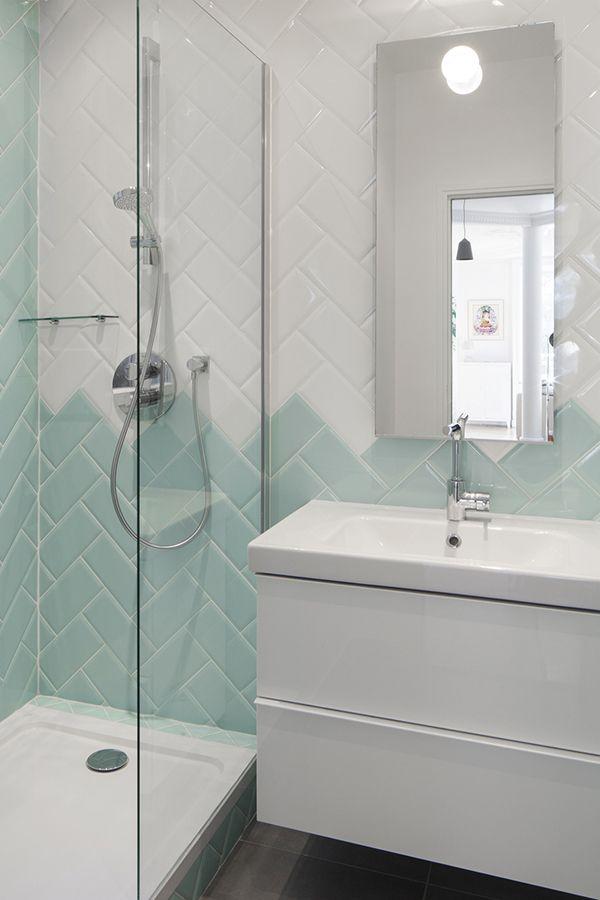 Salle de bain / Bathroom / disposition du carrrelage Notre salle