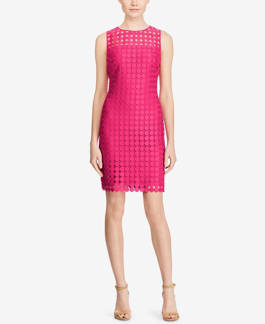 Lauren Ralph Lauren Geometric-Lace Sleeveless Dress