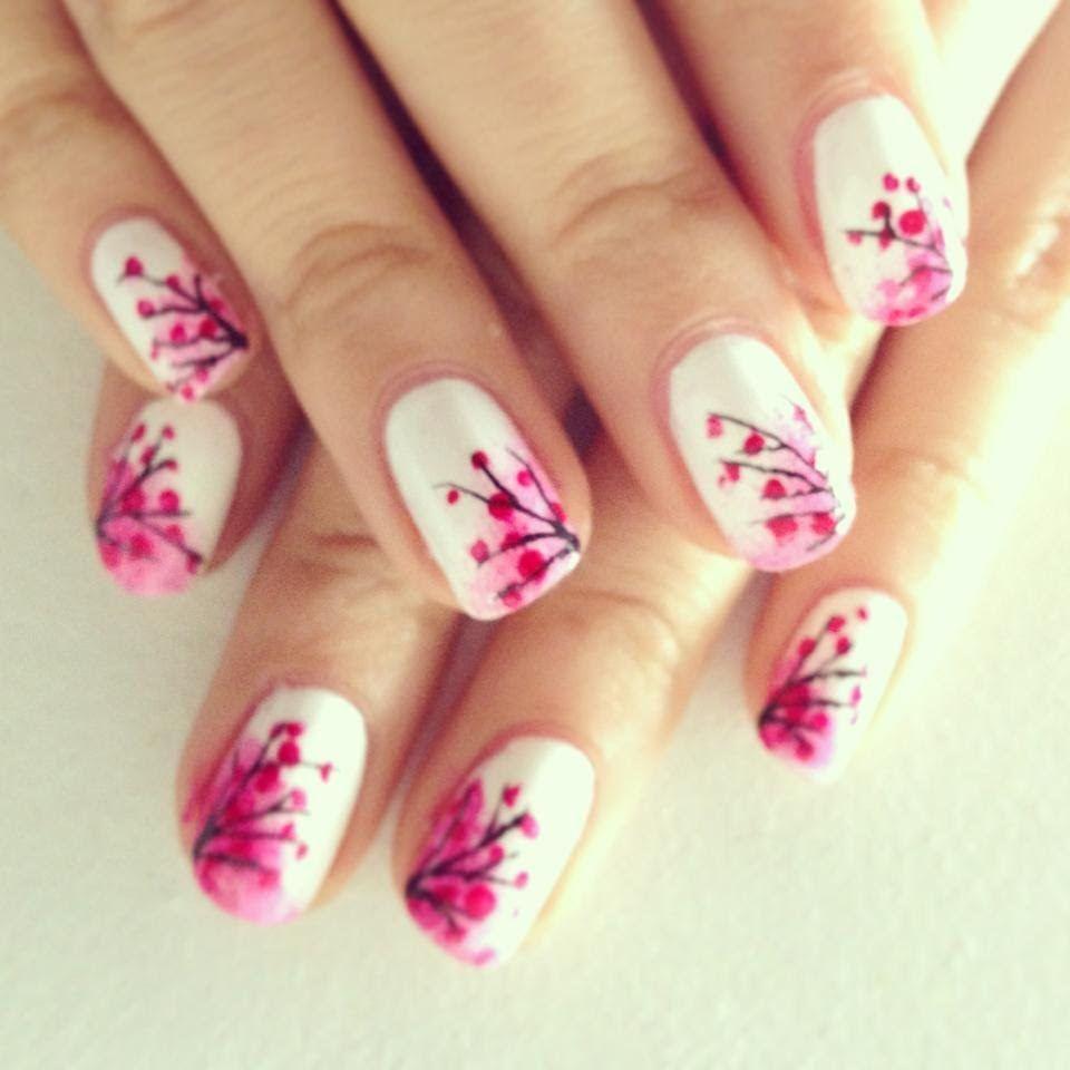Easy Japanese Cherry Blossom Nails | Nail Art | Pinterest | Japanese ...