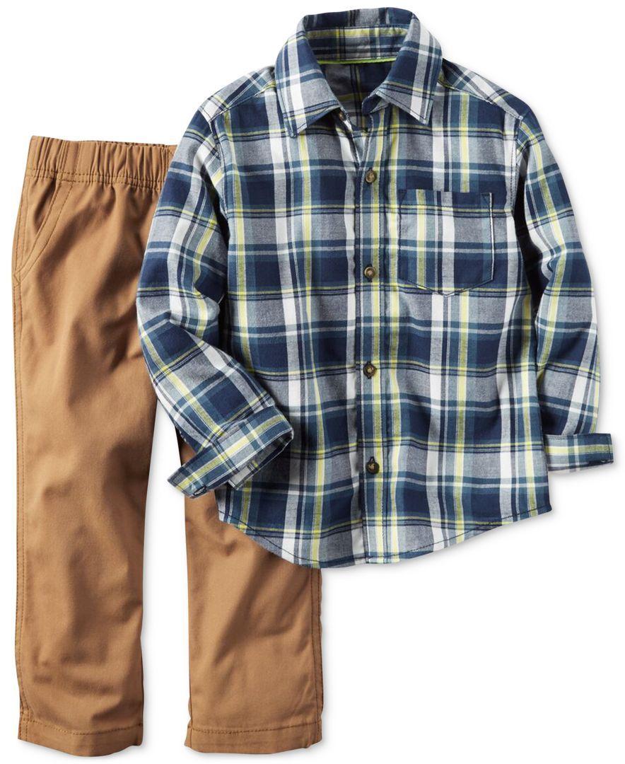 35bca9fa Carter's Little Boys' 2-Pc. Long-Sleeve Plaid Shirt & Pants Set ...