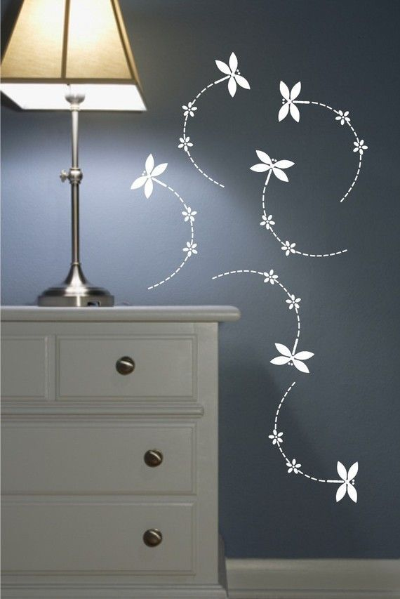 Wall Decals Set of 6 Dragonflies with flowers   Floral ...