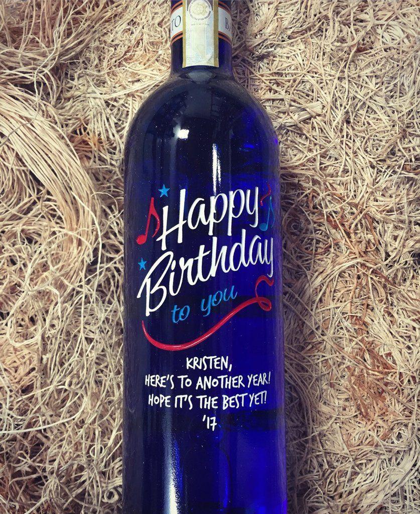 Blue Bottle Happy Birthday To You Birthday Wine Bottles Happy Birthday Wine Wine Bottle Design