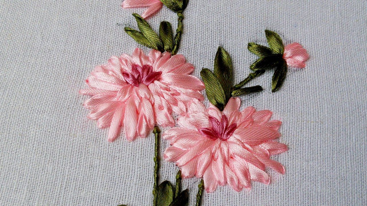 Ribbon embroidery flower by hand beautiful work