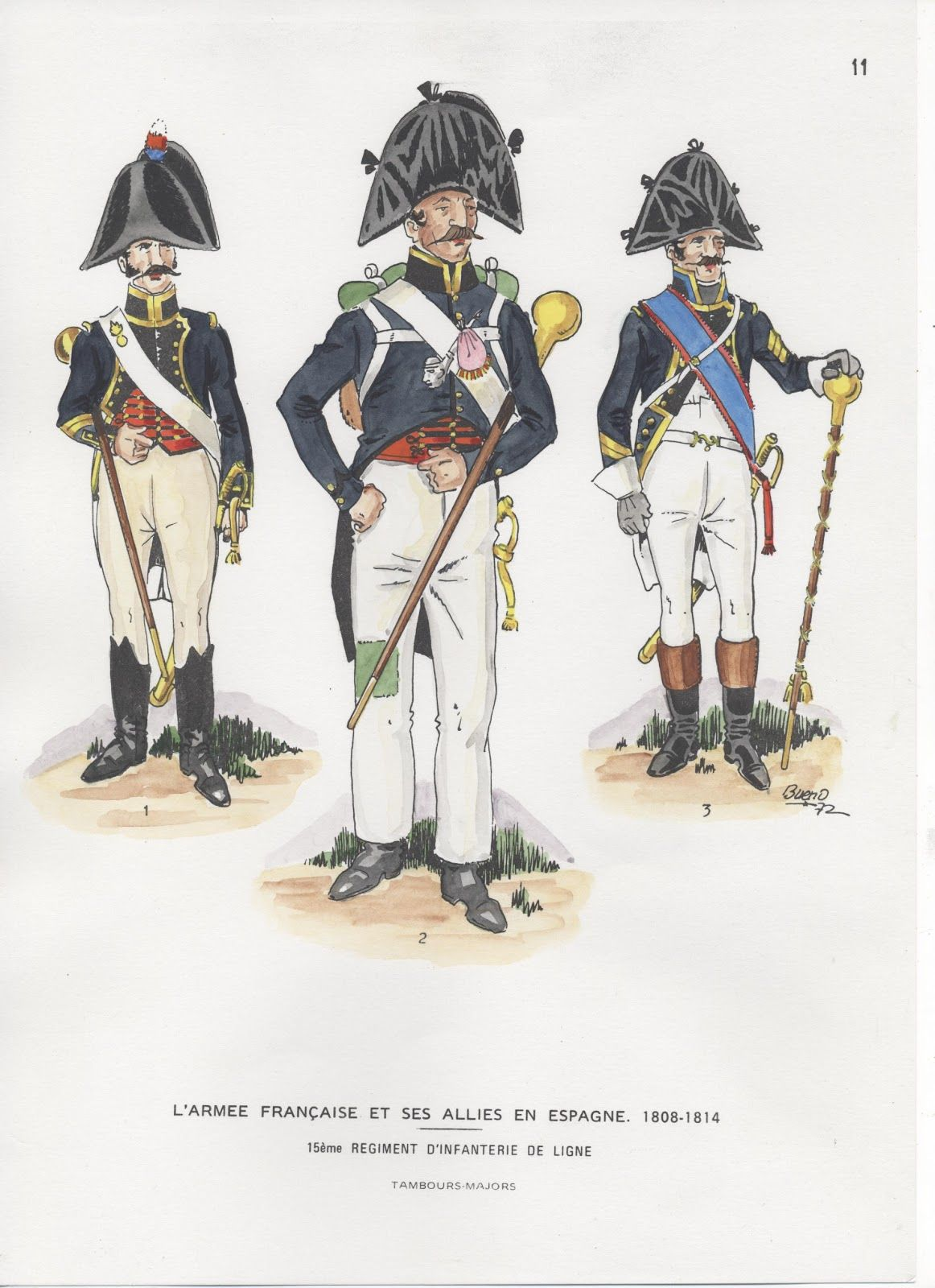 French;Infantry 15th Line, Drum Majors in Spain 1808-14.