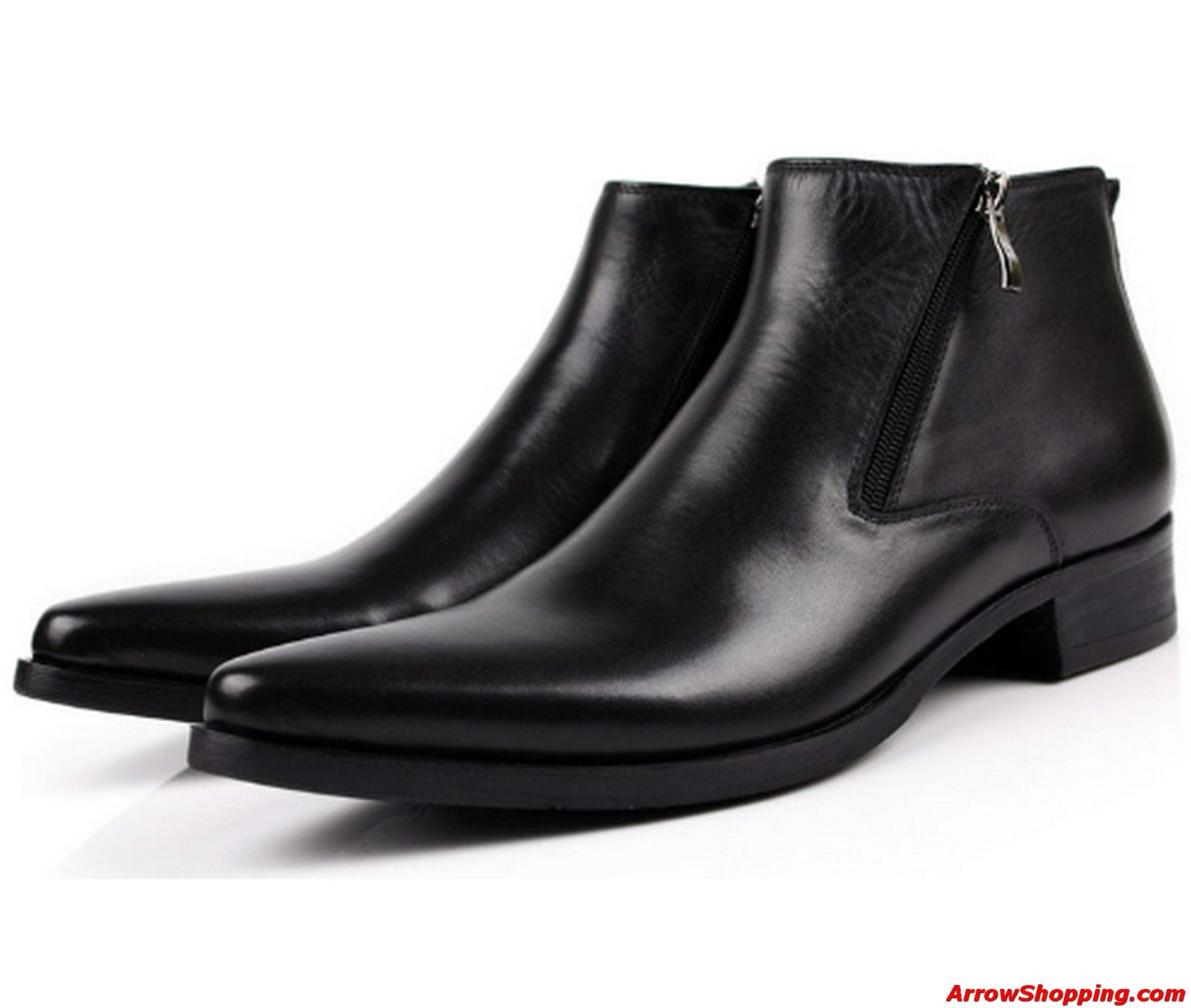 genuine leather mens boots Pointed Toe