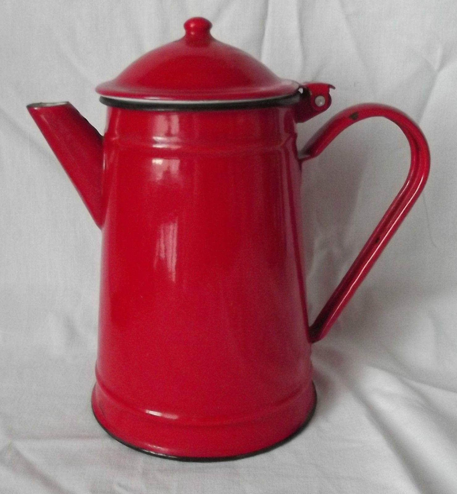 ancienne cafetiere verseuse tole emaillee rouge vintage ebay emaill pinterest t le. Black Bedroom Furniture Sets. Home Design Ideas