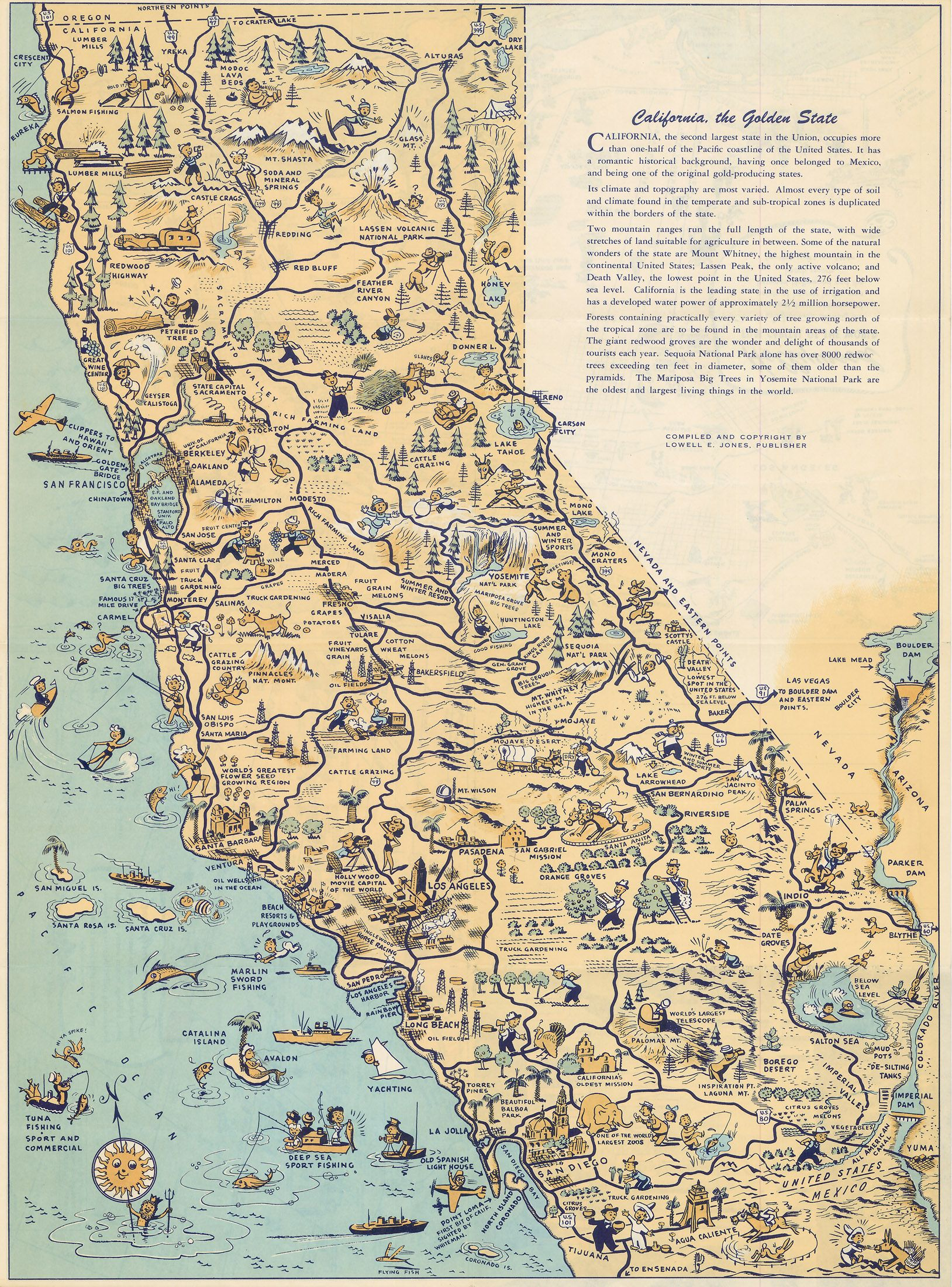 California Map Hollywood.Whimsical Old Map Depicts California At A Time When Hollywood Was A