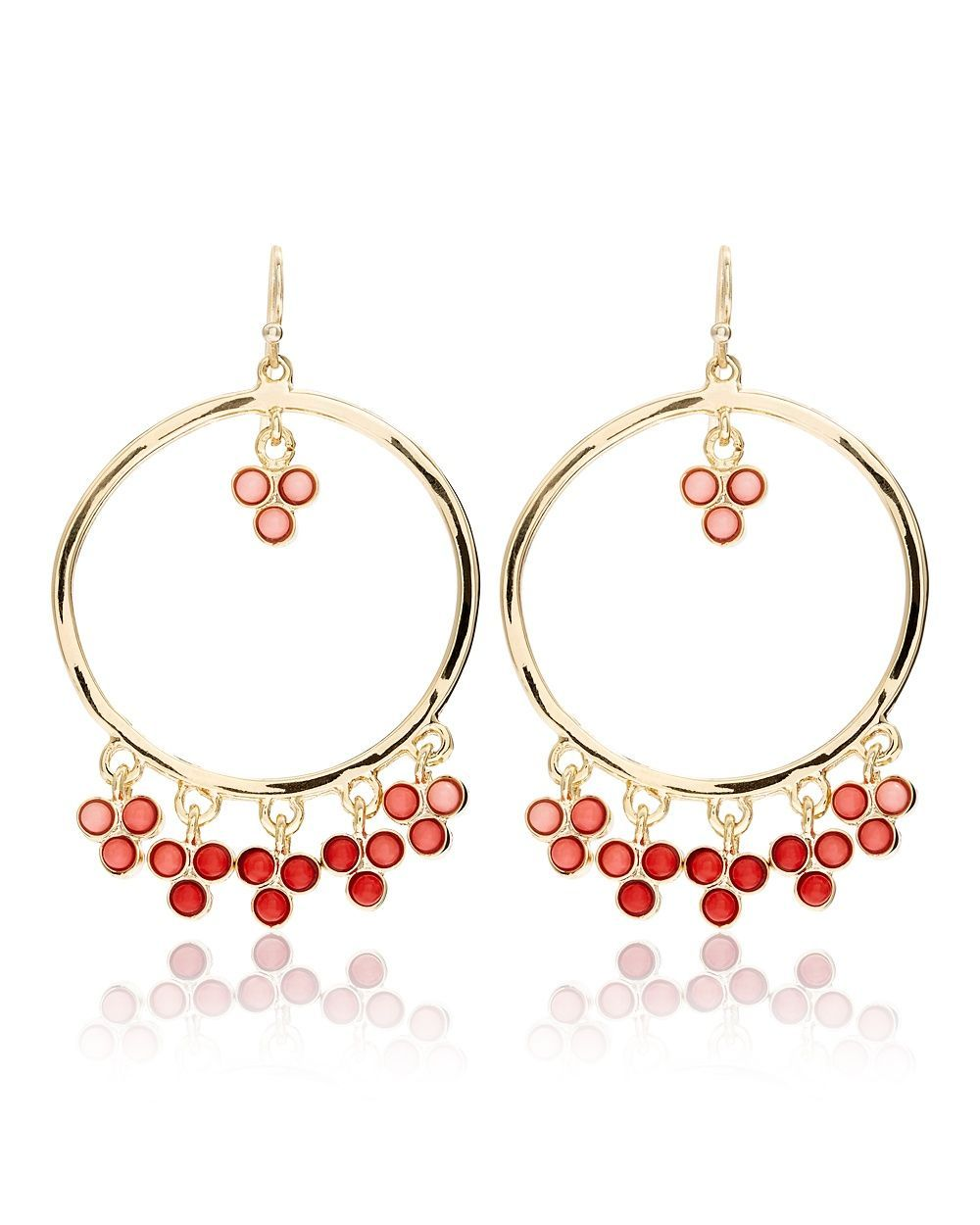 Coral Drop Beaded Hoop Earrings