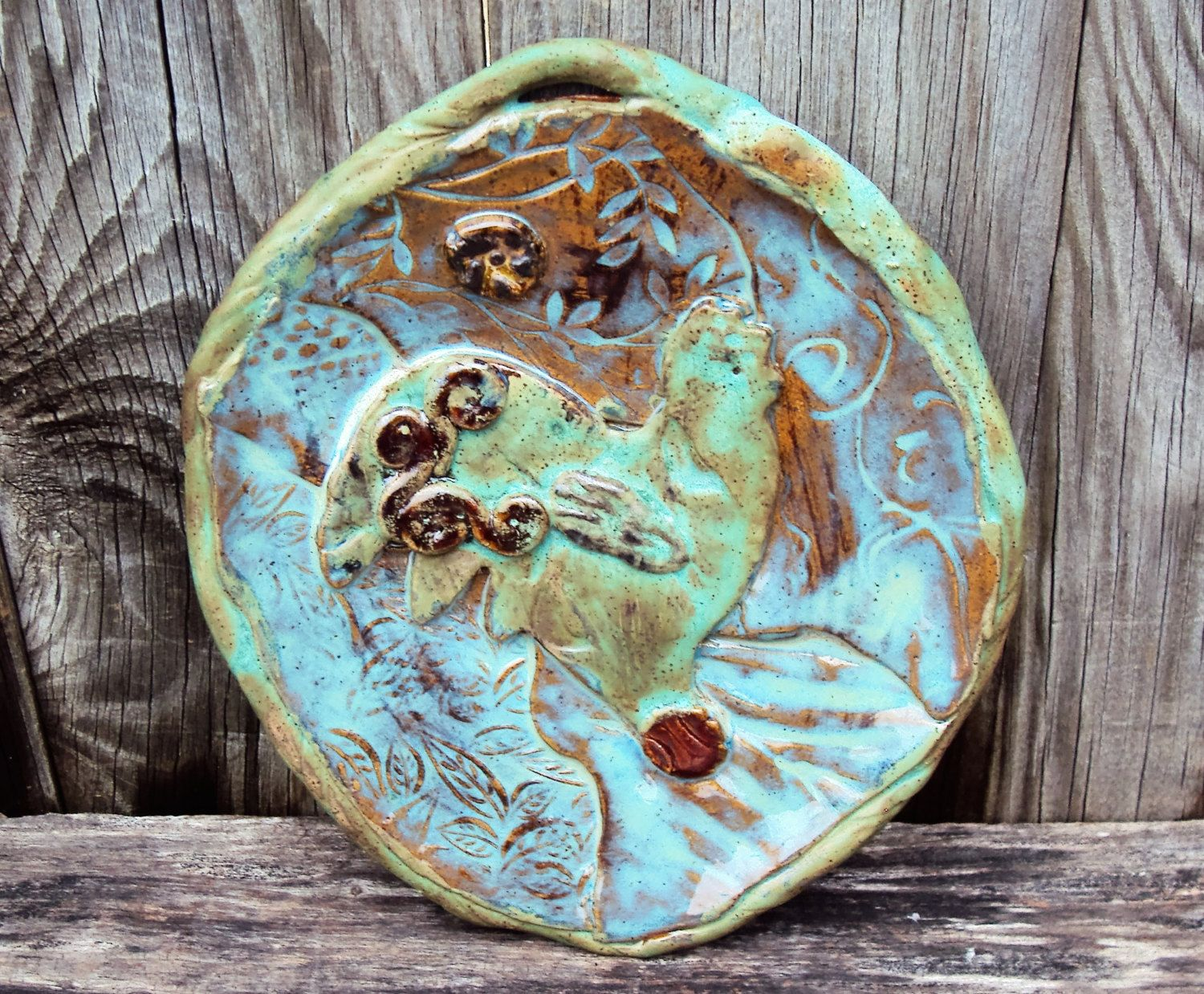 Decorative plate, wall hanging abstract, handmade, stoneware, rooster, farm, country, barnyard by PitterPotterPottery on Etsy