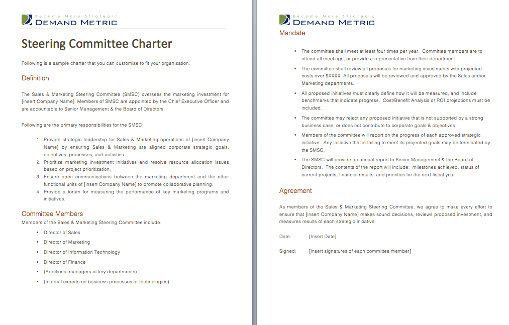 Steering Committee Charter - A charter template that set the ...