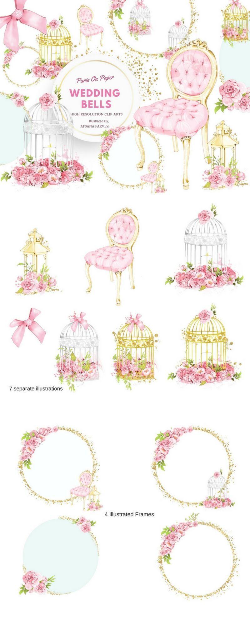 Floral Wedding Clipart, Frames, Floral Invitation, Bridal Shower ...