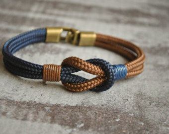 Sailor knot Nautical bracelet  mens bracelet  yellow brown | Etsy – Leahter