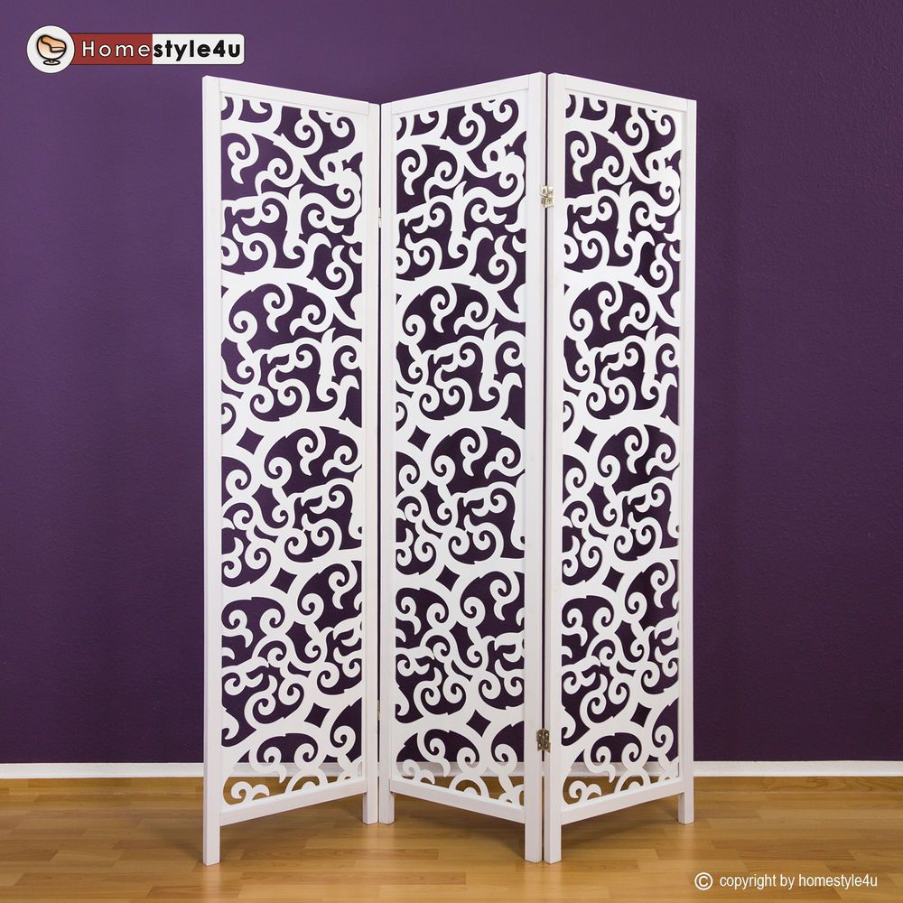 3 fach Paravent Raumteiler Holz Trennwand spanische Wand Sichtschutz Weiss