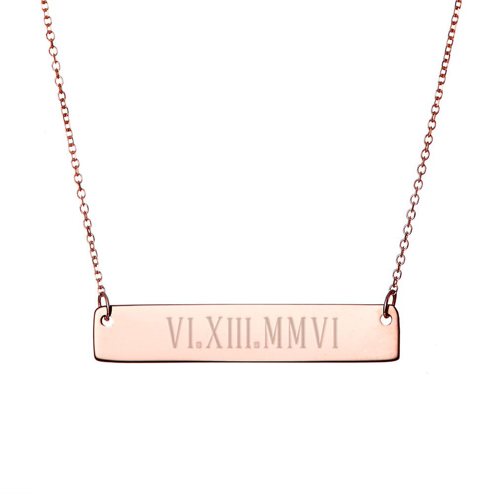 HACOOL 18K Gold Plated Bar Necklace Rectangular Custom Made with Any Roman Numeral Date Nameplate