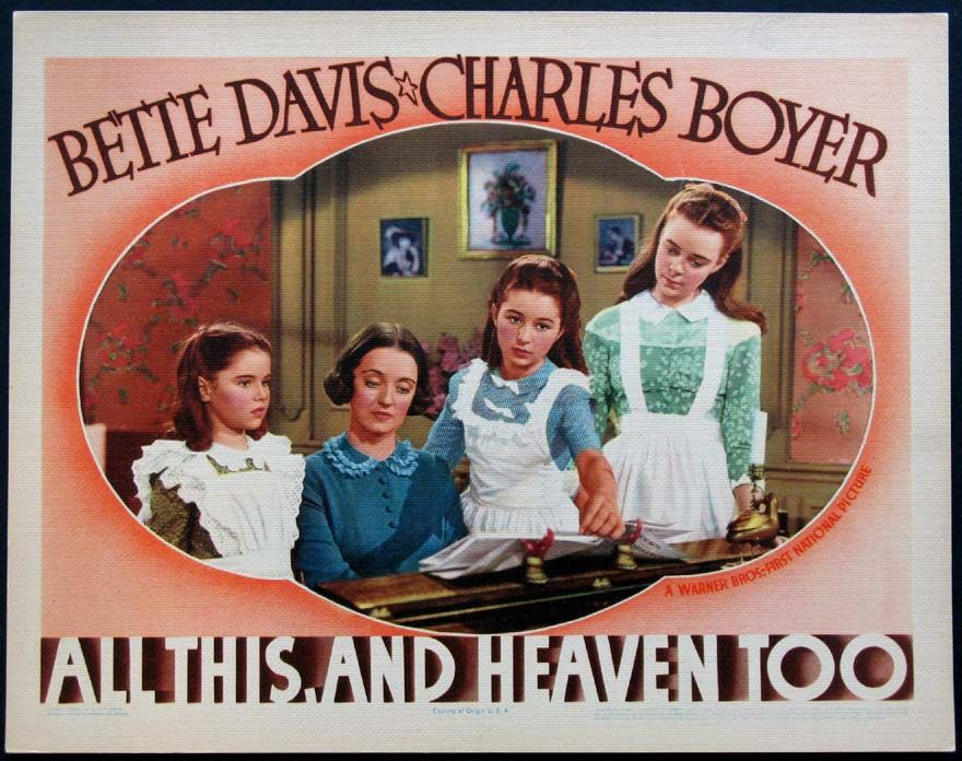 Image result for all this and heaven too 1940 poster