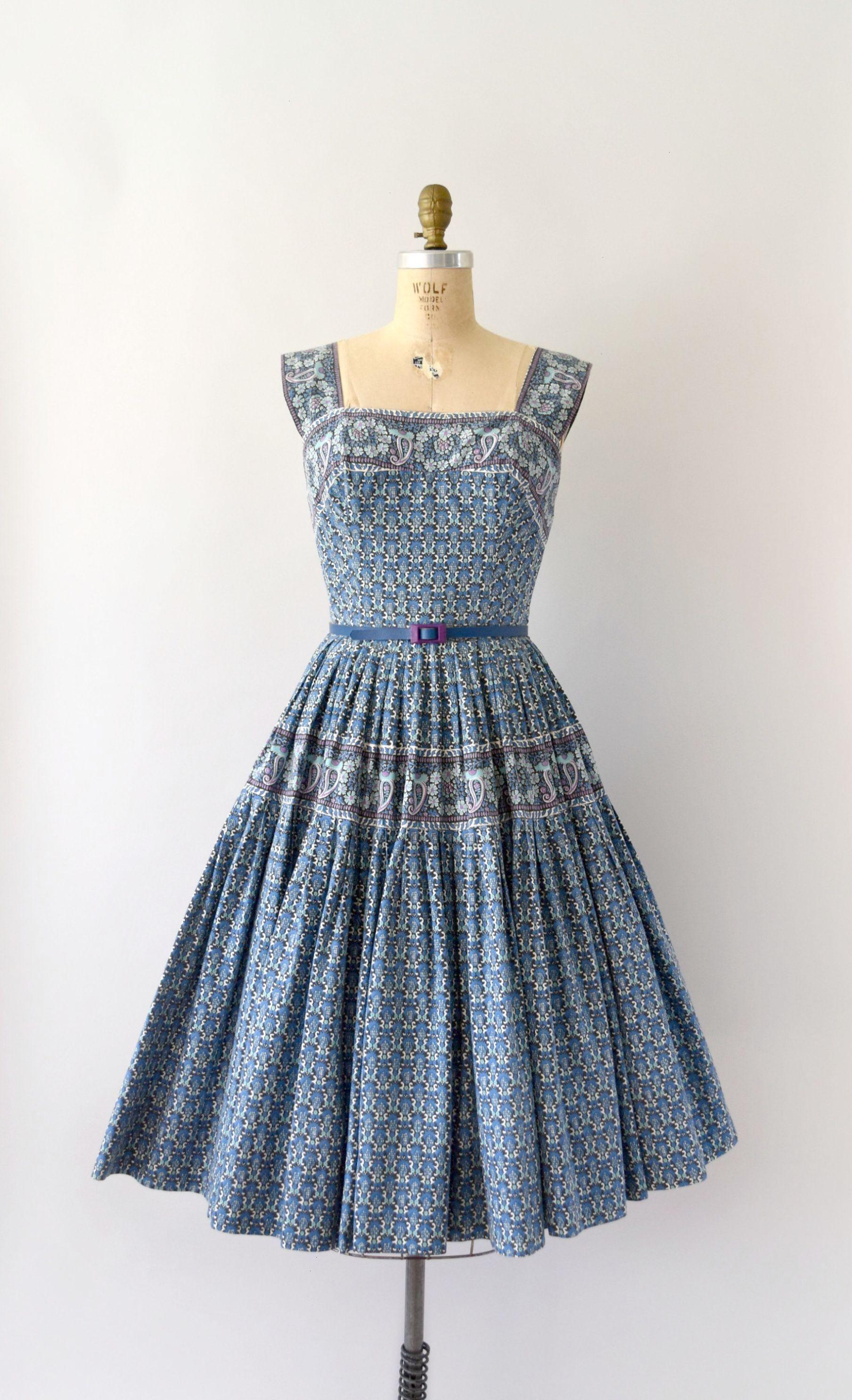 S vintage dress s carolyn schnurer sundress blue owlladys
