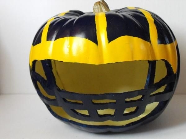 Pumpkin Michigan Football Helmet In Crafts By Sheila Cross Pumpkin Carving Michigan Football Helmet Michigan Football