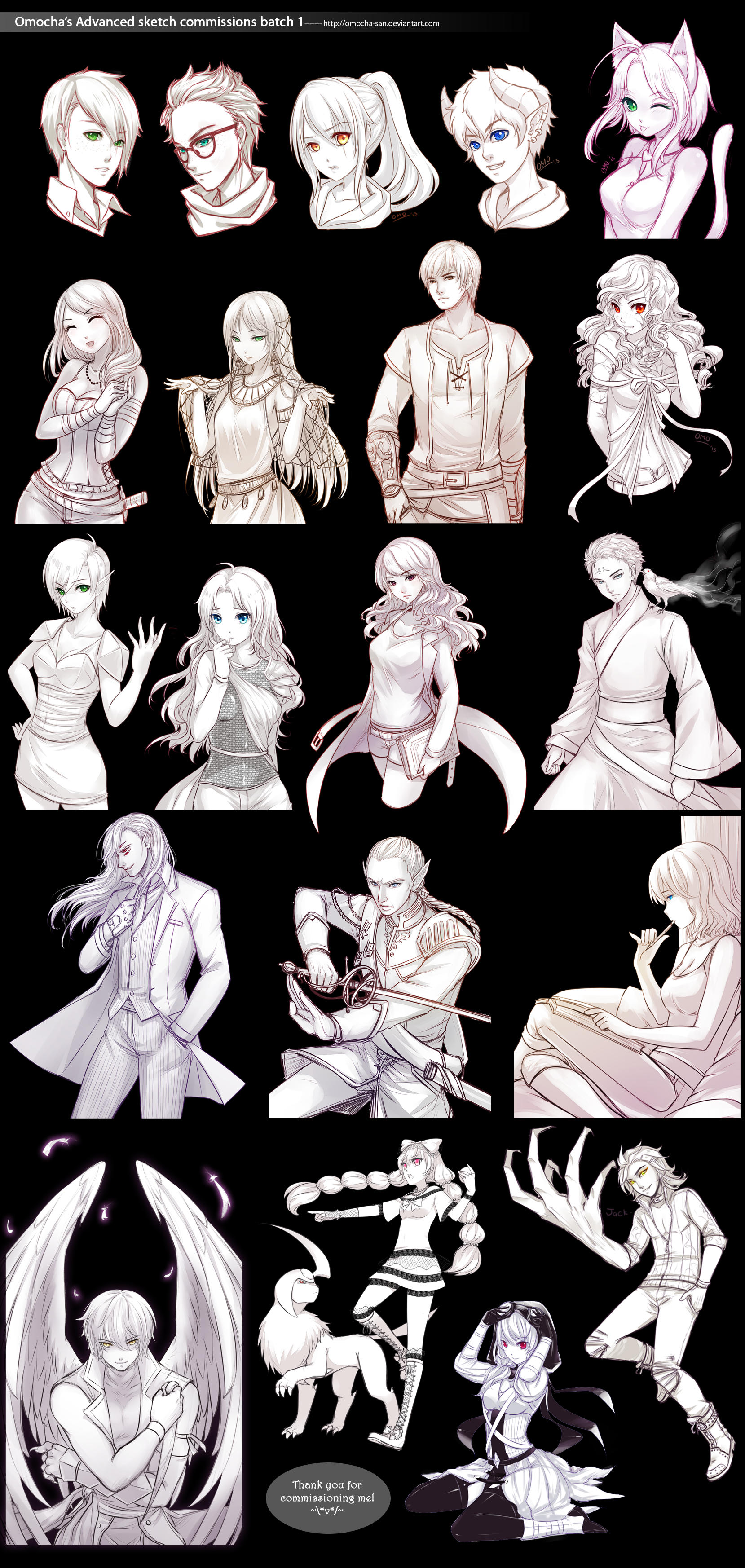 Commission Advanced Sketch Batch 1 By Zenithomocha On Deviantart Art Reference Poses Anime Drawings Black Clover Anime