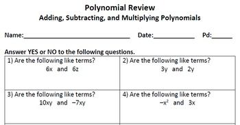Polynomial Review Worksheet   Polynomials, Like terms ...