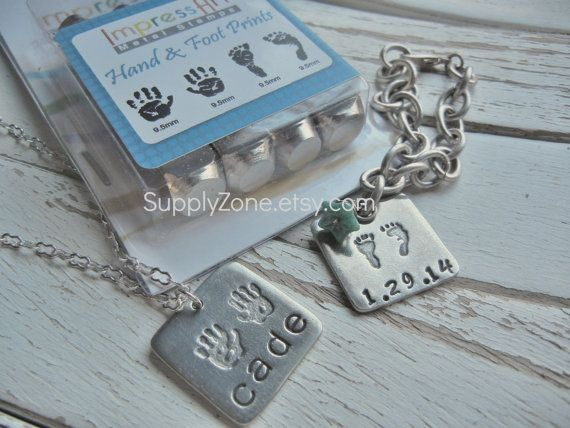 Large Hand and Foot Prints Metal Design Stamps by supplyzone Metal