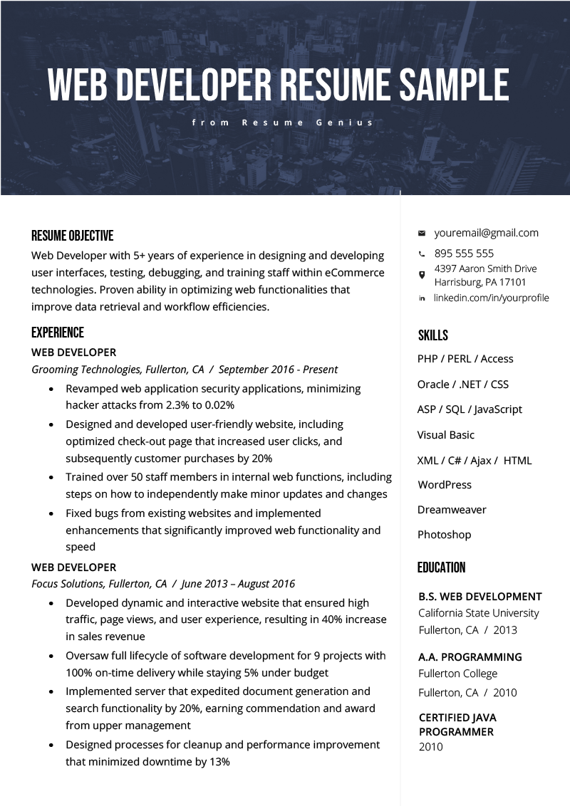 Web Developer Resume Example Template Rg