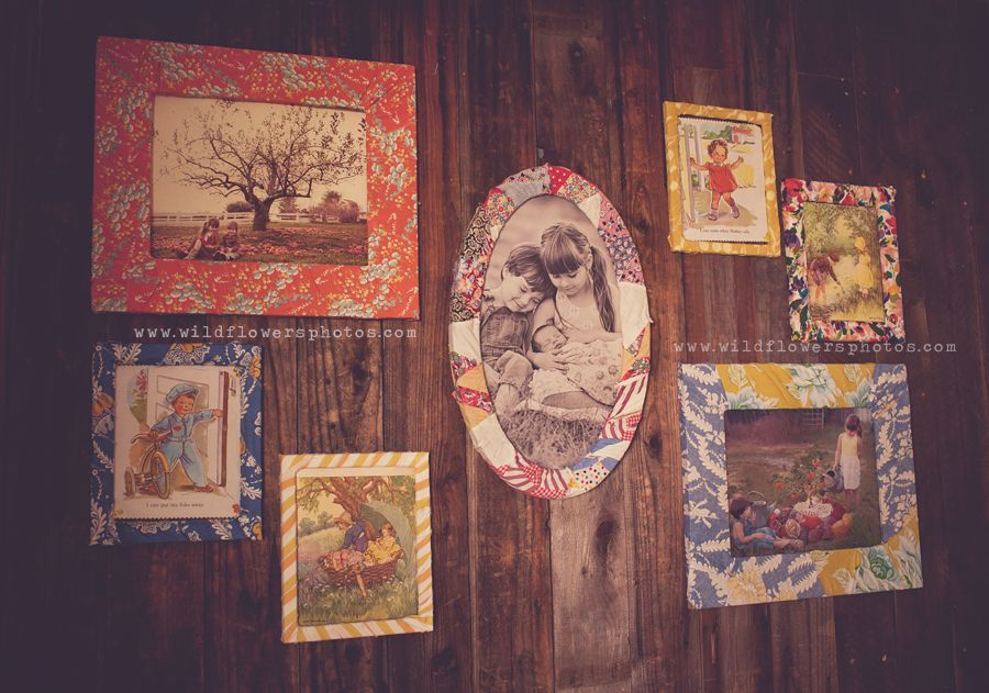 Frames wrapped in fabric....great idea