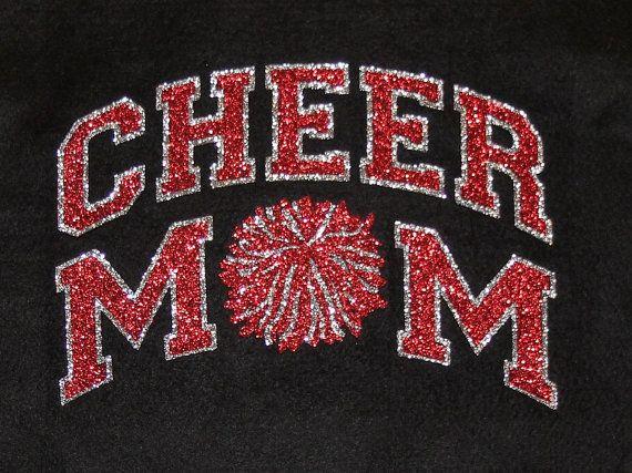 64a509fe5741 Women's Glitter Bling Cheer Mom shirt by RedheadedMonkeys on Etsy, $20.00