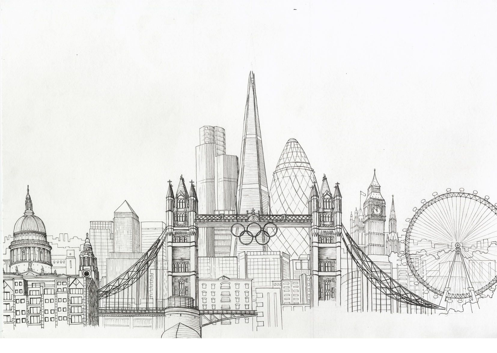 new york city skyline drawing | Sketches | Pinterest ...
