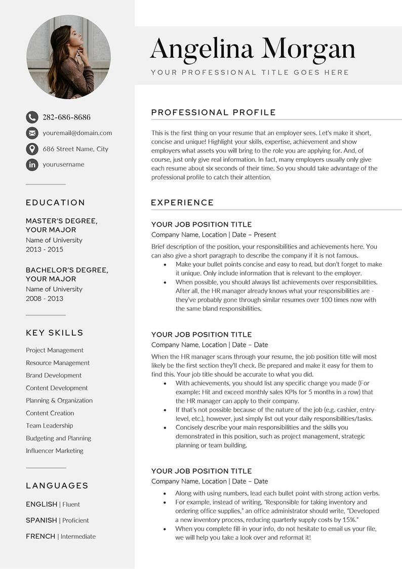 Modern Resume/CV Template for Word Google Docs Resume/CV