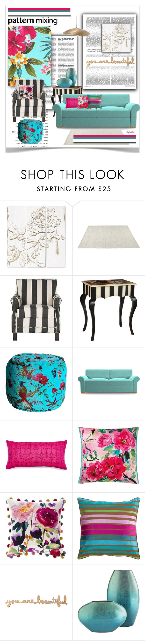 """""""Flowers and Stripes"""" by angelicallxx ❤ liked on Polyvore featuring interior, interiors, interior design, home, home decor, interior decorating, Palecek, CO, Joybird and abcDNA"""
