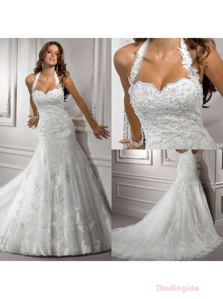 Mermaid gown wedding dresses 2013 halter full lace for Wedding dress halter top