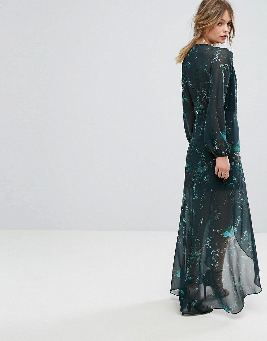 Hope u ivy long sleeve wrap detail floral maxi dress green