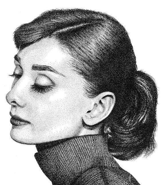Audrey Hepburn Ink Stippling Drawing Illustration Giclee Art Print ...