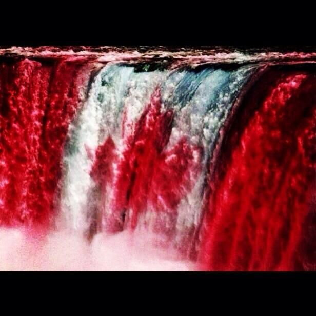 The Canadian flag on Niagara Falls! July 1, 2014 is Canada's 147th Birthday!!!! Happy Birthday Canada!