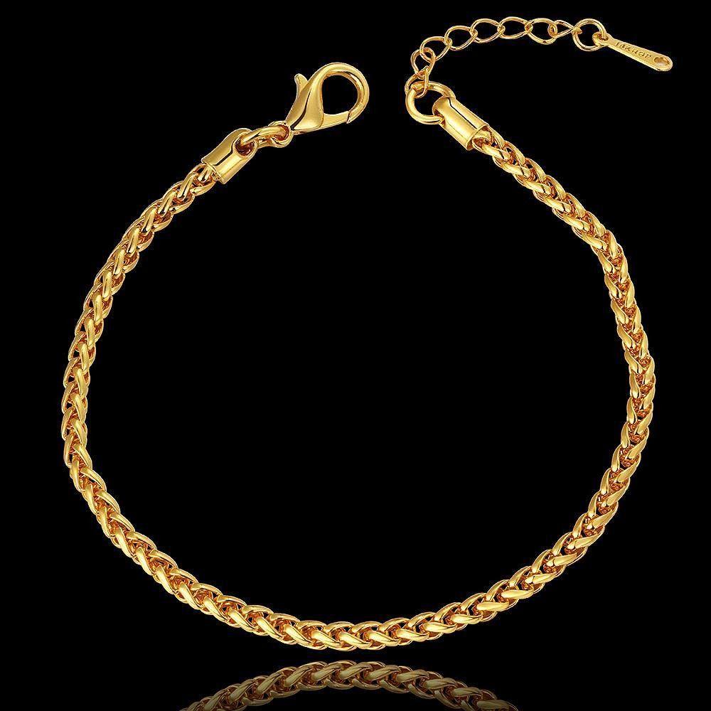 K gold wheat link chain bracelet golden silver elegant